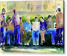 Morning Meeting In Portsmouth Square Acrylic Print by Tom Simmons