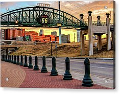 Acrylic Print featuring the photograph Rt 66 Sunrise - Tulsa Oklahoma's Route 66 Sign by Gregory Ballos