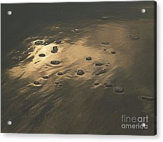 Morning Reflections And Bubbles On Sand Acrylic Print by Anna Lisa Yoder