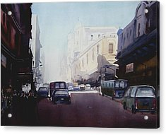 Acrylic Print featuring the painting Morning Street  by Samiran Sarkar