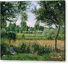 Morning Sunlight Effect At Eragny Acrylic Print by Camille Pissarro
