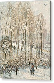 Morning Sunlight On The Snow Eragny Sur Epte Acrylic Print by Camille Pissarro
