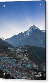Acrylic Print featuring the photograph Morning Sunrays Namche by Mike Reid