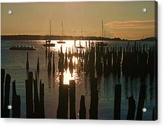 Morning Sunrise Over Bay. Acrylic Print by Dennis Curry