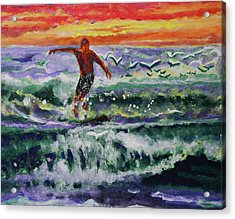 Morning Surf With Birds Acrylic Print