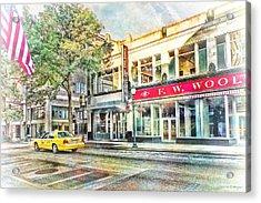 Morning Taxi Downtown Urban Scene Acrylic Print