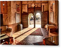 Acrylic Print featuring the tapestry - textile Moroccan Kasbah by Kathy Adams Clark