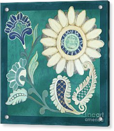 Acrylic Print featuring the painting Moroccan Paisley Peacock Blue 2 by Audrey Jeanne Roberts