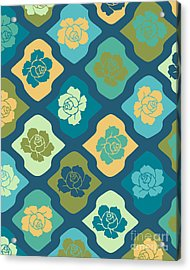 Moroccan Pattern With Rose Acrylic Print