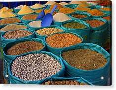 Acrylic Print featuring the photograph Moroccan Spice Market by Ramona Johnston