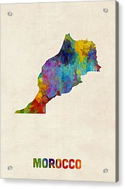Acrylic Print featuring the digital art Morocco Watercolor Map by Michael Tompsett