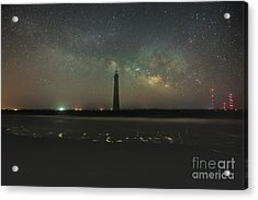 Morris Island Light House Milky Way Acrylic Print by Robert Loe