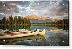 Jasper Lake Canoes Acrylic Print