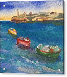 Morro Castle And Three Boats Acrylic Print by Lynne Bolwell