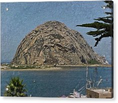 Morro Rock California Painting Acrylic Print by Teresa Mucha