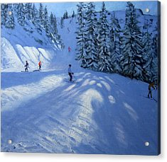Morzine Ski Run Acrylic Print by Andrew Macara