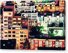 Mosaic Juxtaposition By Night Acrylic Print by Amyn Nasser