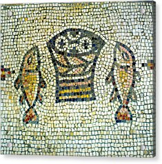 Mosaic Of Loaves And Fishes Acrylic Print by Daniel Blatt