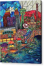 Mosaic River Acrylic Print by Patti Schermerhorn