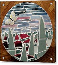 Mosaic Sailboats Acrylic Print by Jamie Frier