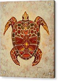 Mosaic Sea Turtle Acrylic Print by Anita Carden