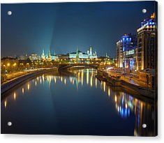 Acrylic Print featuring the photograph Moscow Kremlin At Night by Alexey Kljatov