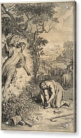 Moses And The Burning Bush Acrylic Print by Gerard Hoet
