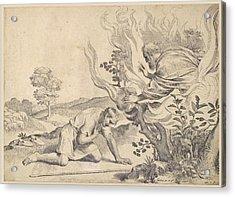 Moses Before The Burning Bush Acrylic Print by Claude Mellan