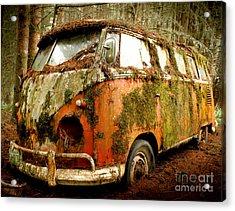 Moss Covered 23 Window Bus Acrylic Print by Michael David Sorensen