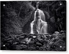 Moss Glen Falls - Monochrome Acrylic Print by Stephen Stookey