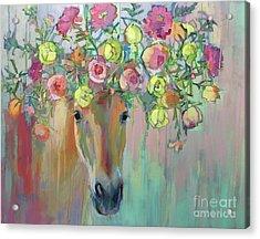 Moss Rose Acrylic Print by Kimberly Santini