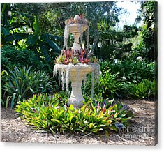Mossy Fountain With Bromeliads Acrylic Print by Carol Groenen