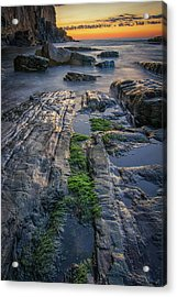 Mossy Rocks At Bald Head Cliff  Acrylic Print