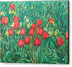 Acrylic Print featuring the painting Mostly Tulips by Kendall Kessler
