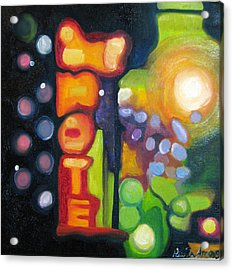 Acrylic Print featuring the painting Motel Lights by Patricia Arroyo