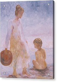 Mother And Baby On The Beach Acrylic Print