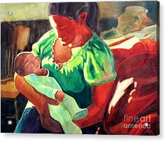 Acrylic Print featuring the painting Mother And Child In Red2 by Kathy Braud