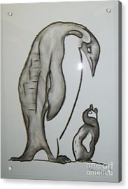 Mother And Child Penguins Acrylic Print