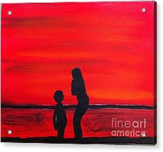 Acrylic Print featuring the painting Mother And Child by Rod Jellison