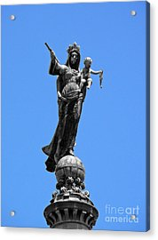 Mother And Child Rooftop Statue Acrylic Print