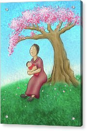 Mother And Child With Cherry Blossoms Acrylic Print
