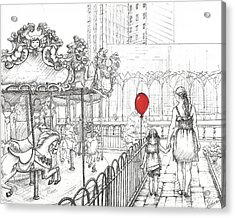 Carousel, New York. Mother And Daughter.  Acrylic Print by Anna Giller