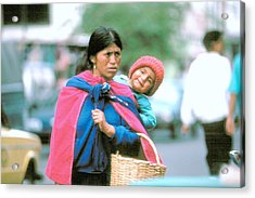 Acrylic Print featuring the photograph Mother And Daughter Ecuador by Douglas Pike