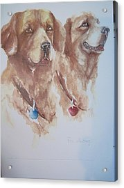 Mother And Son Golden Retrievers Acrylic Print by Peg Whiting