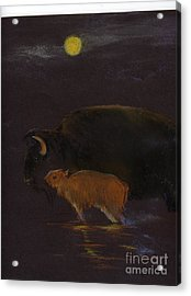 Mother Bison And Calf Acrylic Print by Mui-Joo Wee