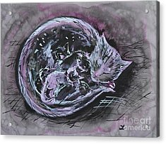 Acrylic Print featuring the painting Mother Cat With Kittens by Zaira Dzhaubaeva