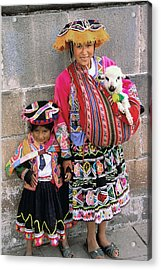 Mother Child  And Lamb Cuzco Acrylic Print by Alan Lenk