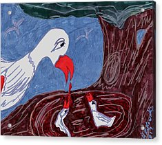 Mother Goose Feeding Her Young Acrylic Print by Elinor Helen Rakowski