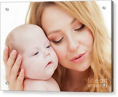 Mother Holding And Hugging Her Newborn Baby. Motherhood Acrylic Print