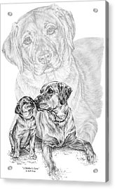 Mother Labrador Dog And Puppy Acrylic Print by Kelli Swan